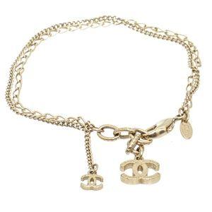 Chanel Gold Tone Strand CC Charm Bracelet